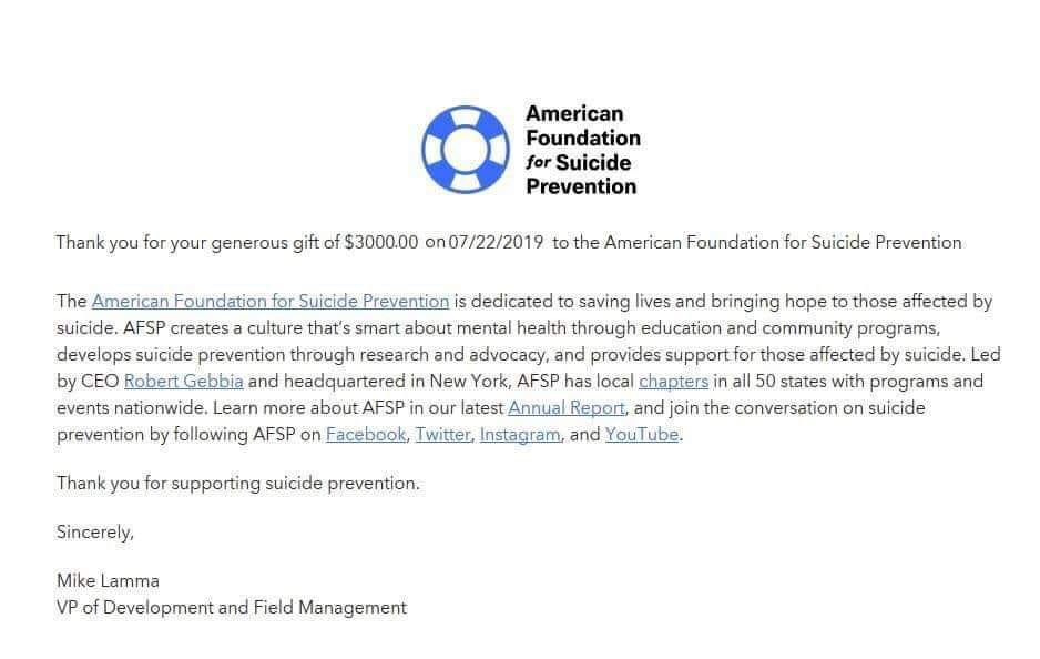 Thank you letter from The American Foundation for Suicide Prevention