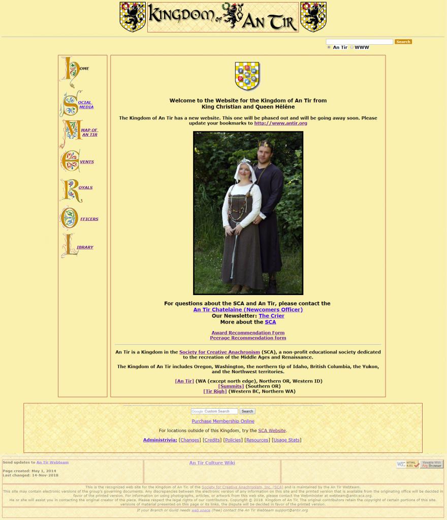 a screenshot of the previous An Tir Kingdom website circa 1990 - 2018